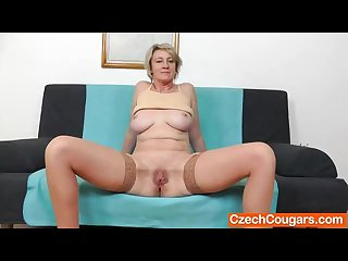 Blonde amateur mom solo in stockings
