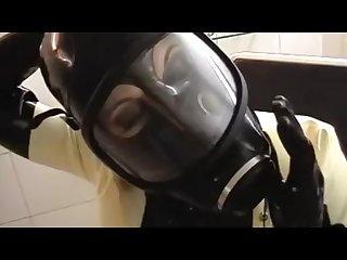 Latex gasmask talking