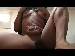Ebony freak squirts at home all alone