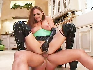 Horny housewife fucked in latex