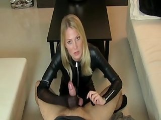 Blonde leather catsuit femdom nylon fetish handjob