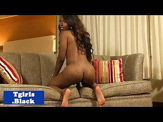 Classy black Ts strokes her cock sensually