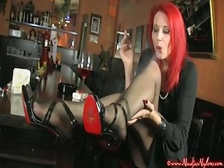 Smoking high heels nylon foot fetish