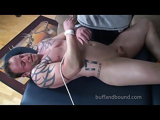 Huge bodybuilder bound and tickled wesley Steel