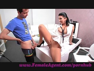Femaleagent milf fucked on her own desk