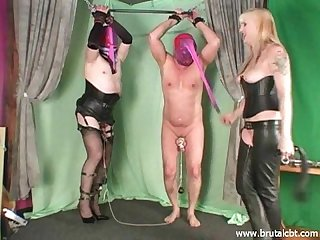 Two slaves cbt and ballbusting