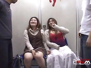 Two cfnm scenes of two asian women watching guy jack off