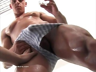 Hot slavic hunk oiled massaged