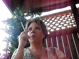 Mature milf bbw smoking outside