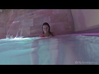 Underwater footjob