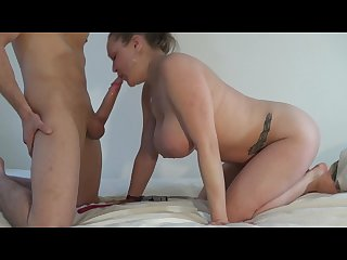 Big natural tits hang as amateur girlfriend gives sexy sideview blowjob Hd