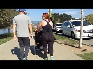 Stupid candid mom walking in tight see-through leggings exposes her big ass
