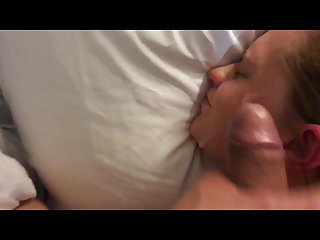 Slut gets cum on face then pissed on