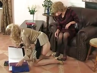 Young girls get punished by mature women boss