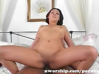 Teen brunette loves to suck and fuck a big black dick for interracial fun