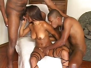 Ebony chick takes on two dudes at the same time