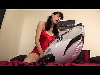 Shiny satin inflatable whale masturbation
