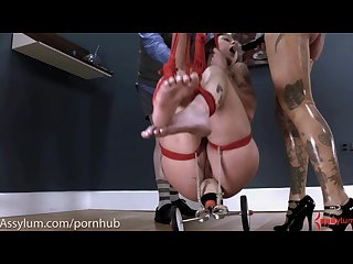 Anal virgin gets training wheels shoved up her ass before brutal assfucking
