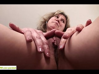 Wife olive jones rubs her hairy twat