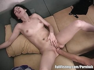 Sexy girlfriend tight pussy fisted and fucked