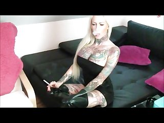 Tattooed smoker sucks and fucks pov