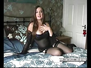 Hot babe miss pussy talks dirty teasing her horny clit with sexy high heels