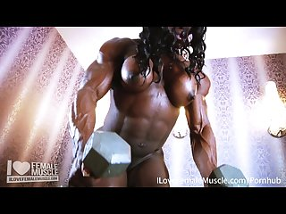 Massive muscle dominatrix mistress treasure nude flexing video
