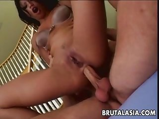 Hot threesome for her pussy and her ass Fits perfectly