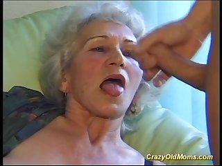 Busty hairy mom deepthroat on big dick