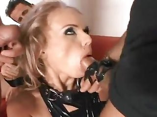 Horny gagged milf gets gang bangde by three studs