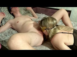 Blowjob my husband and gave him prostate massage with snowballing kiss