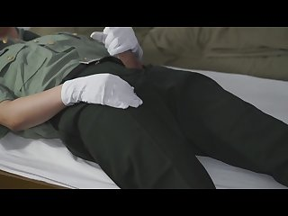 Soldier masturbating and cums a lot