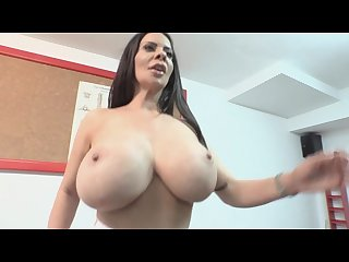Busty brunette with big tits workout
