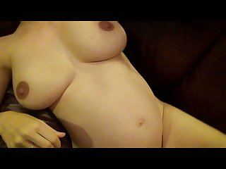 Pregnant girl rubs clit and get fucked