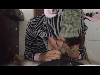 Face fucking furry teen in a zebra onesie with cumshot