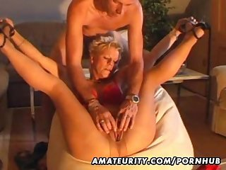 Amateur milf masturbates sucks and fucks with cumshot
