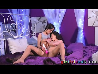 Girlfriends pussy eating and toy play for dark haired lesbians