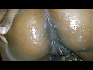 Ebony squirter fucked in the ass by a big black cock