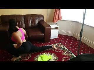 Little abbie big butt ass natural tits exhibition stretching workout dancer