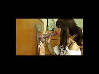 Asian girl practicing deepthroat with dildo