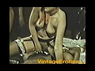 Blonde takes two black cocks vintage