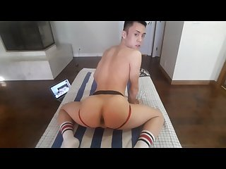 Asian twink in jockstrap plays with dildo and cums