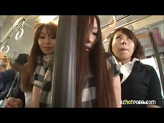 Cute japanese girl is touched fucked by two girls part one
