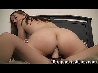 Girl takes a strapon cock in her tight ass by her lesbian roommate