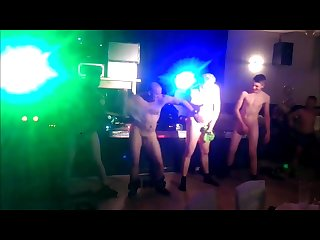 Losing a bet group of guys have to dance naked