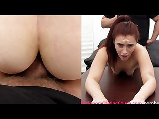 Young mom anal orgasm creampie on casting couch