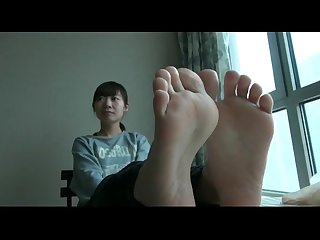 Asian feet in nylons foot fetish soles