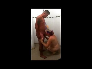 mom joins young guy in shower she deepthroats him and swallows his cum