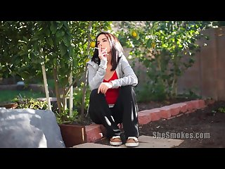 Petite teen dillion harper smokes a cigarette outdoors