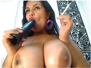 Big tit latina smoking